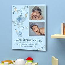 Blue baby boy birth announcement 2 images date weight gift canvas christening birth