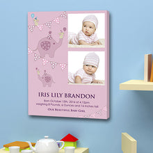 Pink baby boy birth announcement 2 images date weight gift canvas christening birth