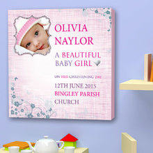 Load image into Gallery viewer, Christening Canvas gift girl baby girl personalised birth