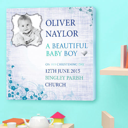 Christening Canvas gift boy baby  personalised birth