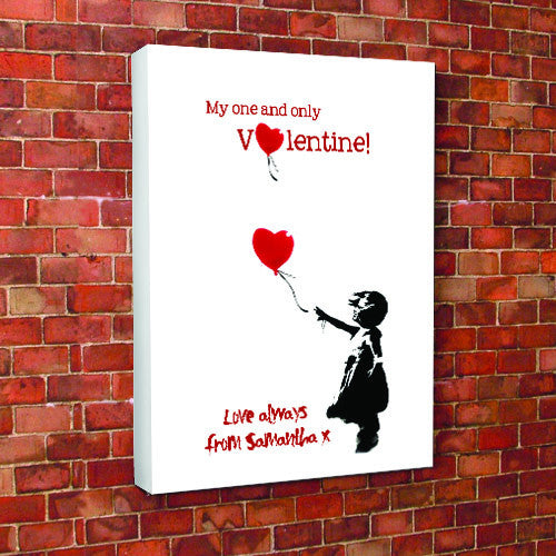 Banksy love heart balloon personalised valentines canvas