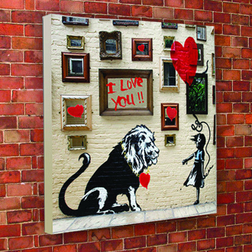 Banksy Lion Valentines Canvas
