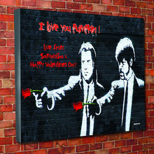 Banksy pulp fiction personalised Banksy Canvas red roses valentines