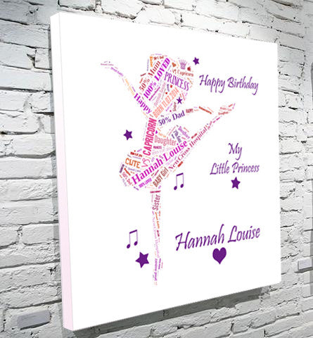 Ballerina text montage gift canvas girl