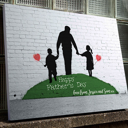 Banksy Print Father's Day Personalised canvas gift