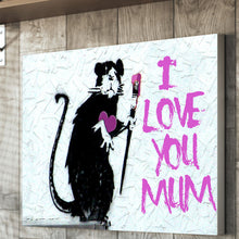 Load image into Gallery viewer, Banksy Rat Mother's day canvas personalised gift