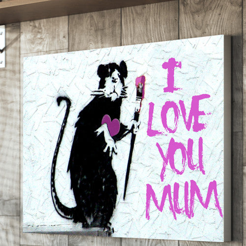 Banksy Rat Mother's day canvas personalised gift