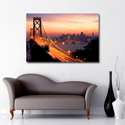 city art san francisco bay bridge sunset