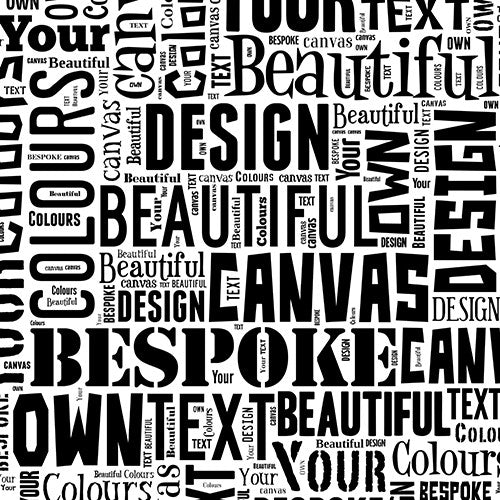 Text Montage Canvas Black and White