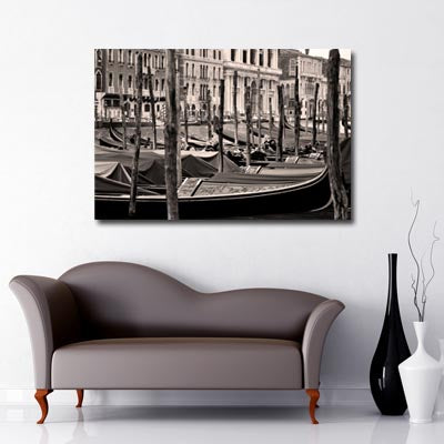 Venice gondola black and white city art