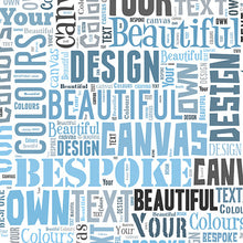 Text montage canvas blues and greys