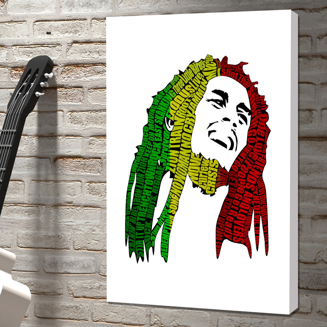 Bob Marley Raggae rock icon word art canvas