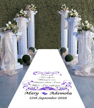 Load image into Gallery viewer, personalised wedding aisle runner Butterfly theme
