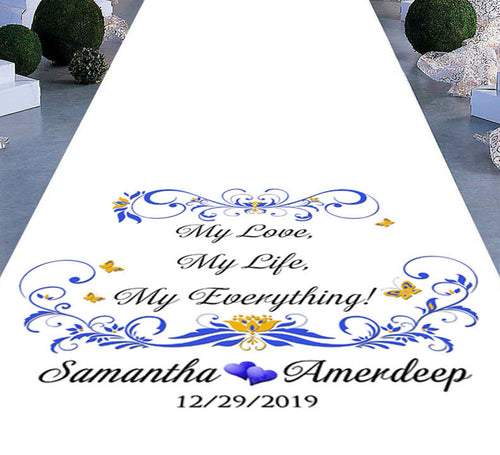personalised wedding aisle my love my life my everything theme
