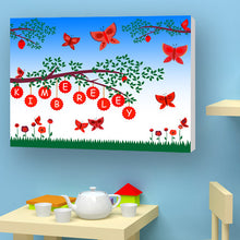 Load image into Gallery viewer, Butterflies personalised canvas red birth christening birthday gift