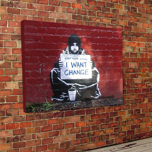 Banksy Change canvas and frame
