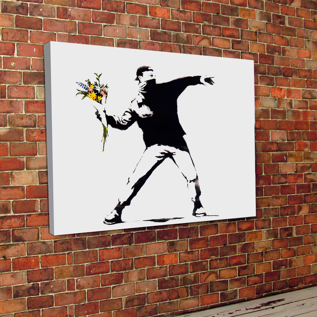 Banksy Flower Riot Canvas