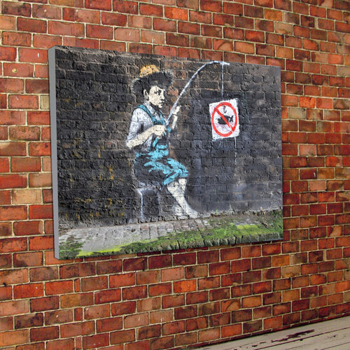 Banksy Fishing Canvas