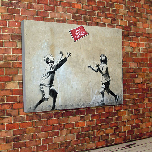 Banksy No Ball Games Canvas