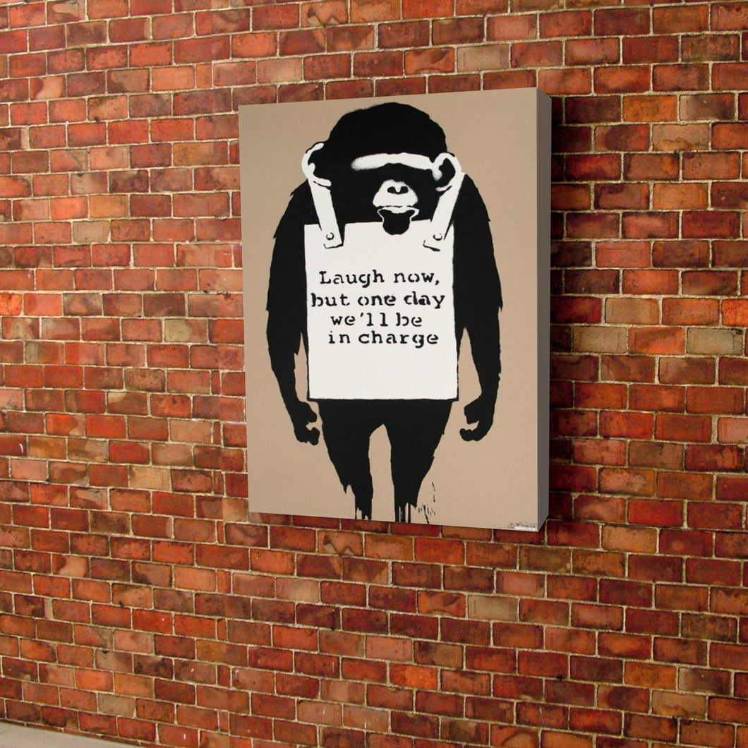 Banksy Laugh Now Canvas