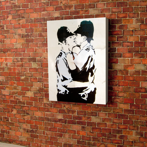 Banksy Print Kissing Policeman canvas