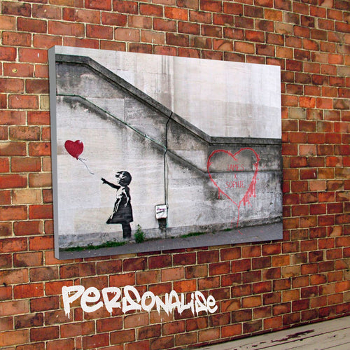 Personalised Hope Heart Banksy Canvas