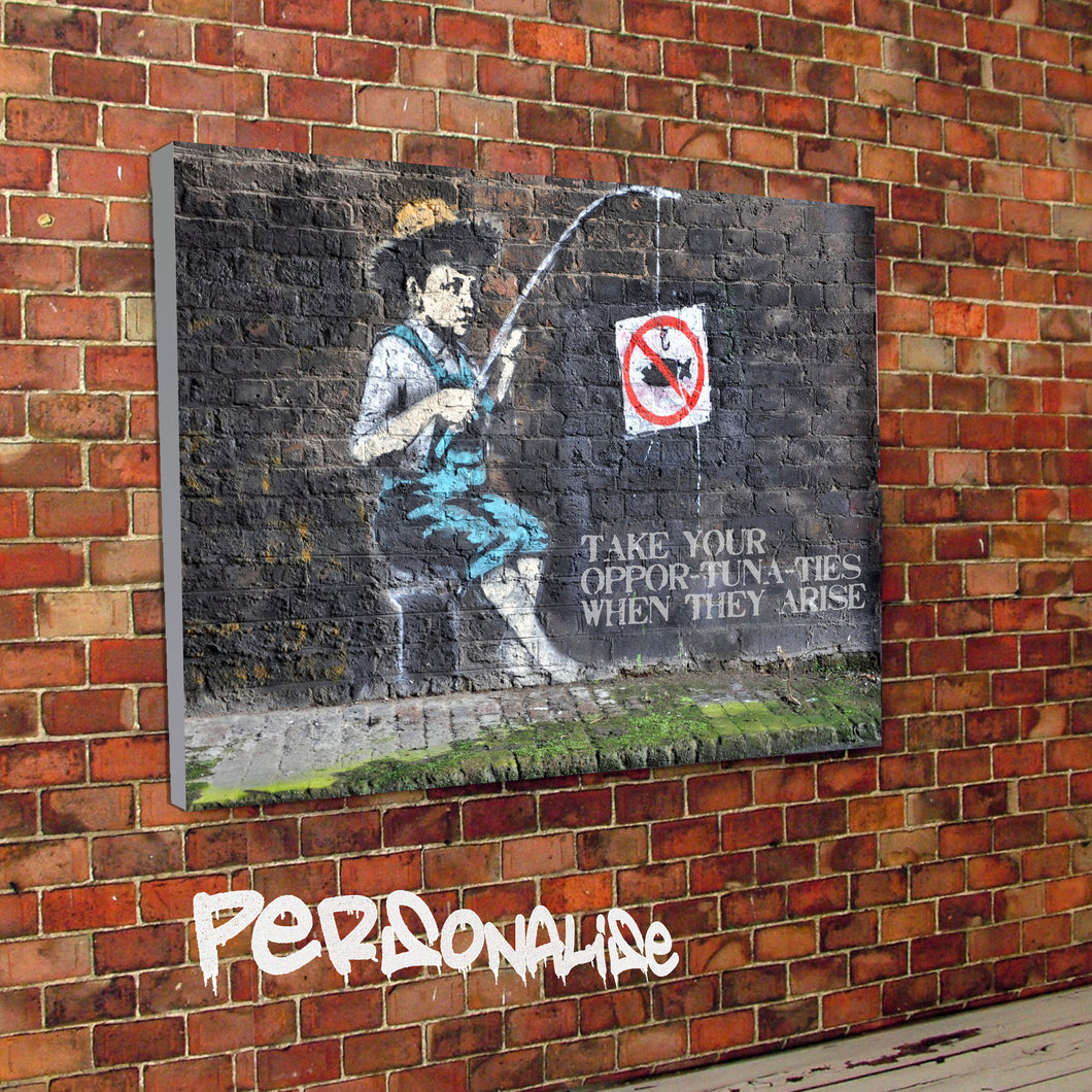 Personalised Fishing Banksy Canvas