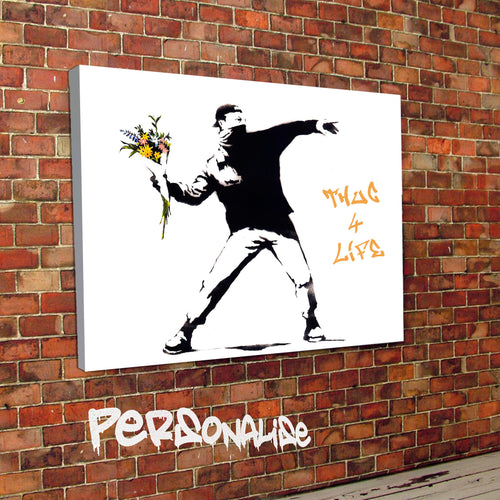 Personalised Flower Riot Banksy Canvas