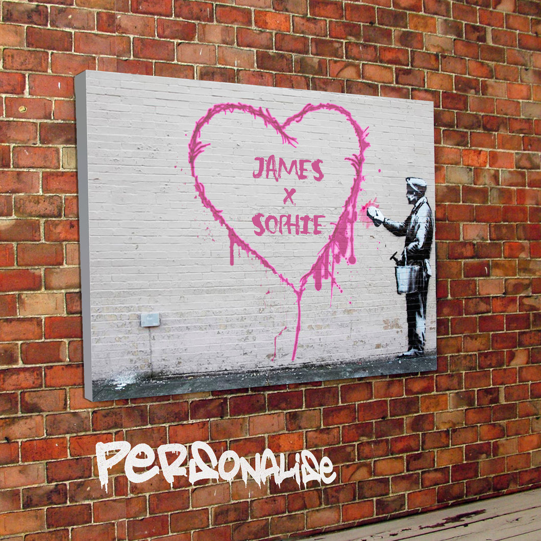 Banksy personalised heart valentines canvas