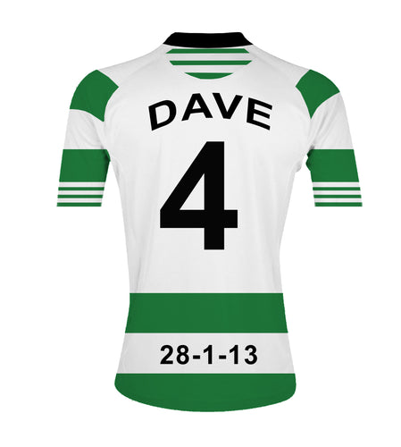 Celtic green and white  personalised football shirt canvas