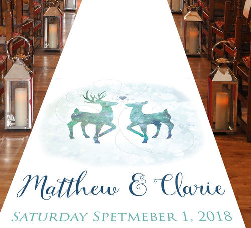 personalised aisle runner deer and stag winter theme