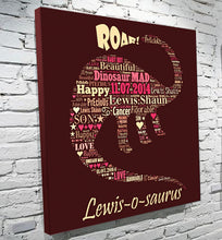 Load image into Gallery viewer, Dinosaur text montage personalised word art canvas gift