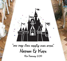 Load image into Gallery viewer, Personalised Wedding Aisle Runner - Fairy Tale Castle