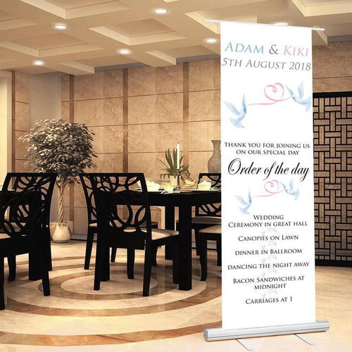 Personalised Wedding Welcome Sign and Order of the Day Sign Dove Theme