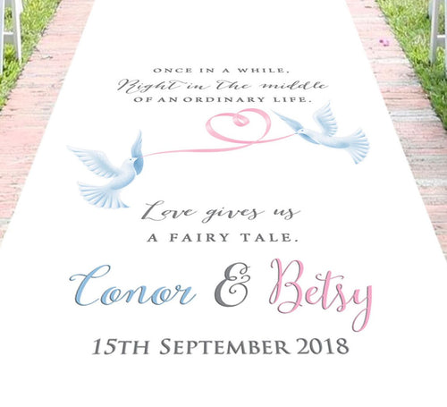 aisle runner personalised dove theme