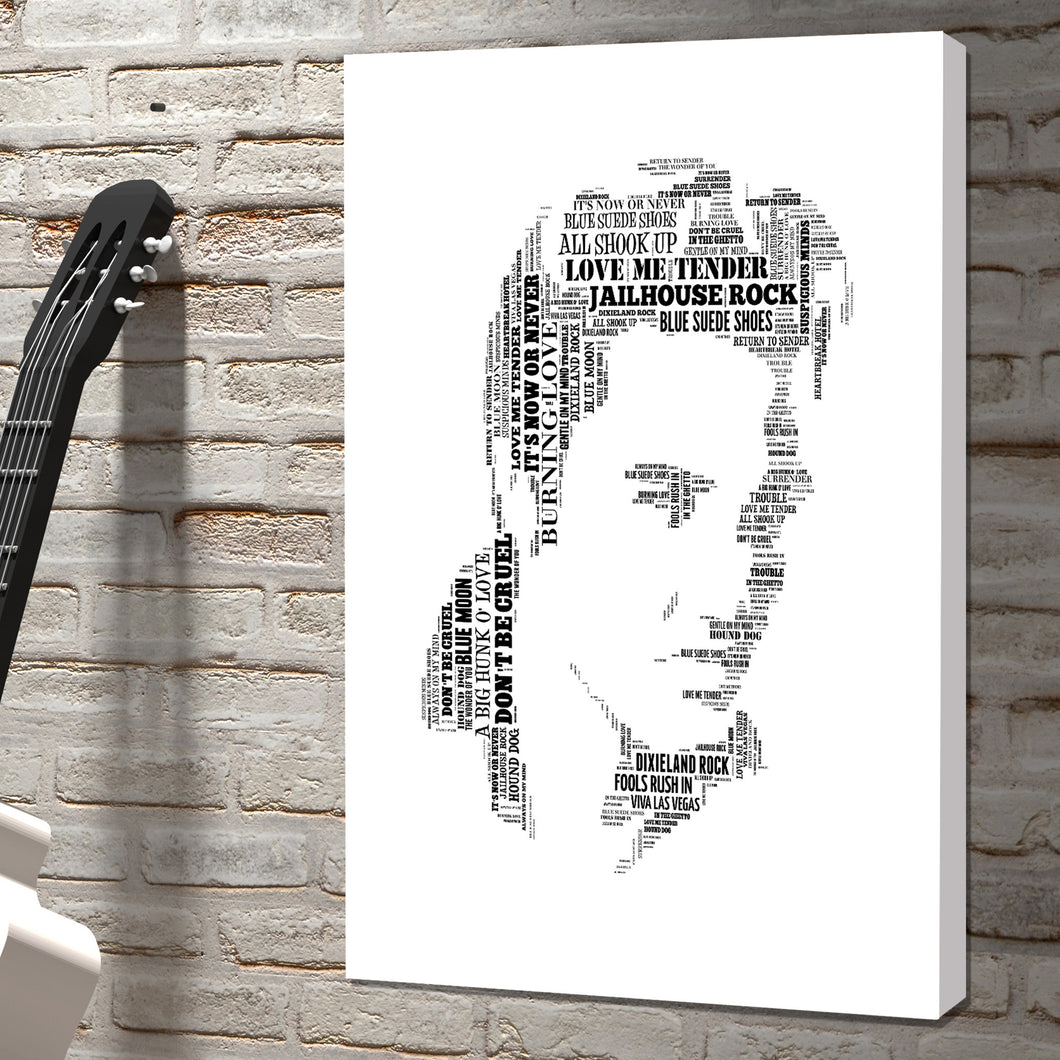 Elvis Presley king of rock word art canvas