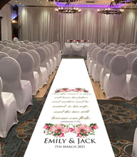 personalised wedding aisle runner ephesians bible reading for weddings theme