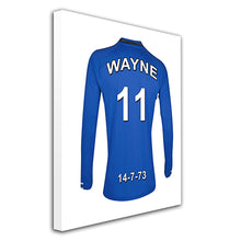 Everton blue and white  personalised football shirt canvas