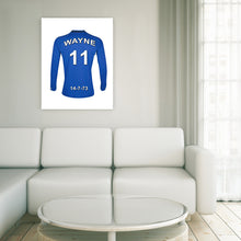 Load image into Gallery viewer, Everton blue and white  personalised football shirt canvas