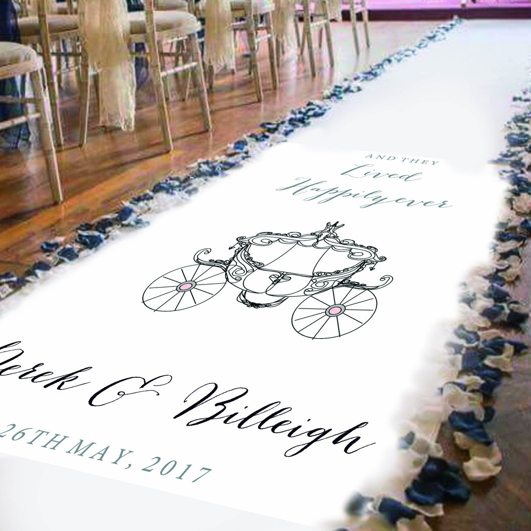 wedding aisle runner personalised with Bride and groom names and date of wedding. Princess Wedding carriage