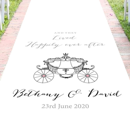 Personalised aisle runner wedding disney princess carriage theme
