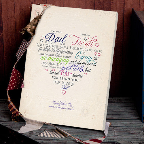 Thank you Dad Father's Day gift canvas personalised