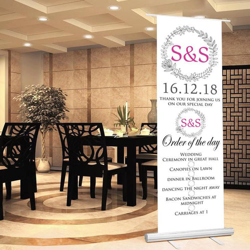 Wedding welcome sign wedding order of the day sign floral theme pop up banner personalised
