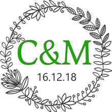 Load image into Gallery viewer, personalised wedding aisle runner floral initials of bride and groom green