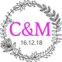 Load image into Gallery viewer, personalised wedding aisle runner floral initials of bride and groom pink