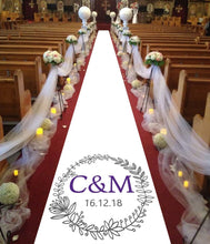 Load image into Gallery viewer, personalised wedding aisle runner floral initials of bride and groom