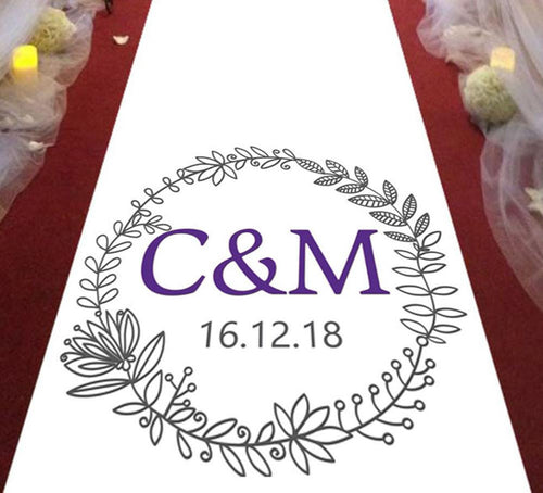 personalised wedding aisle runner floral initials of bride and groom