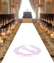 Load image into Gallery viewer, personalised wedding aisle runner pink floral initials