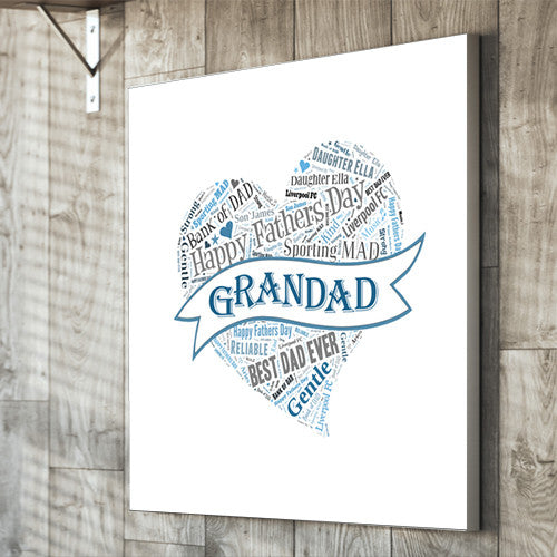 Father'sDay Text Montage canvas gift personalised unique father, dad, grandad, grandpa,