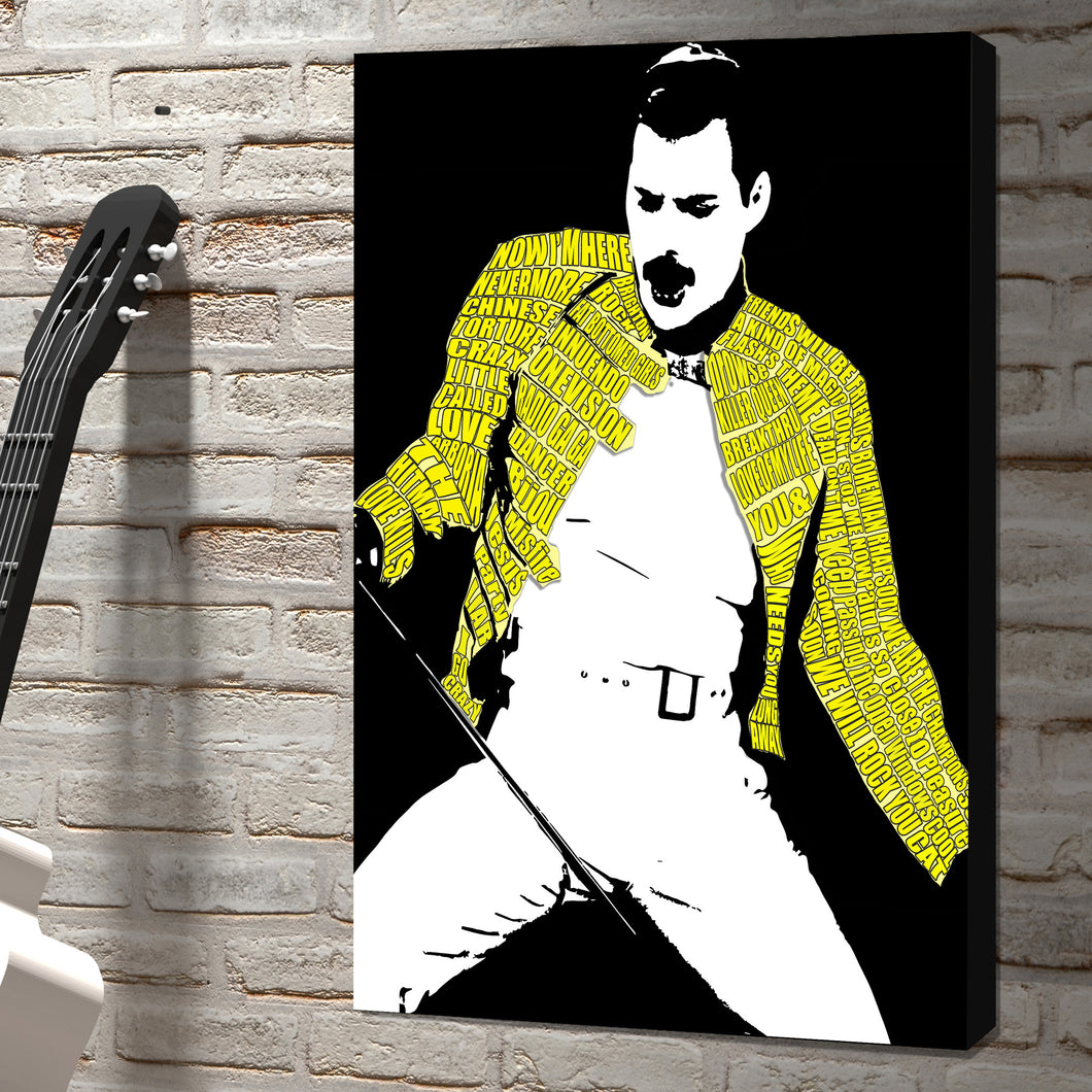 Freddie Mercury word art canvas rock icon